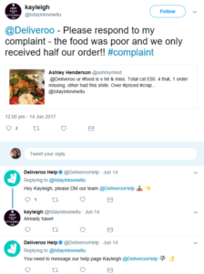 An example of brands responding to customer complaints on social media (Image Source)
